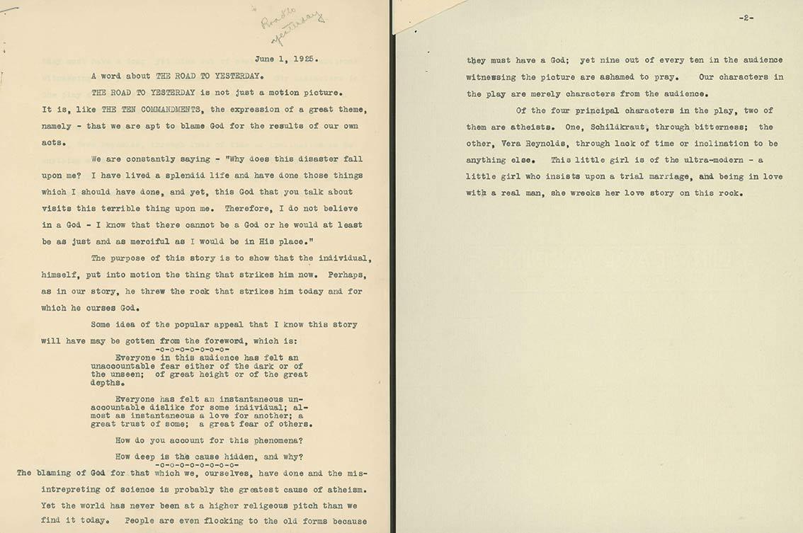 Brief van Jetta aan De Mille – 1925
