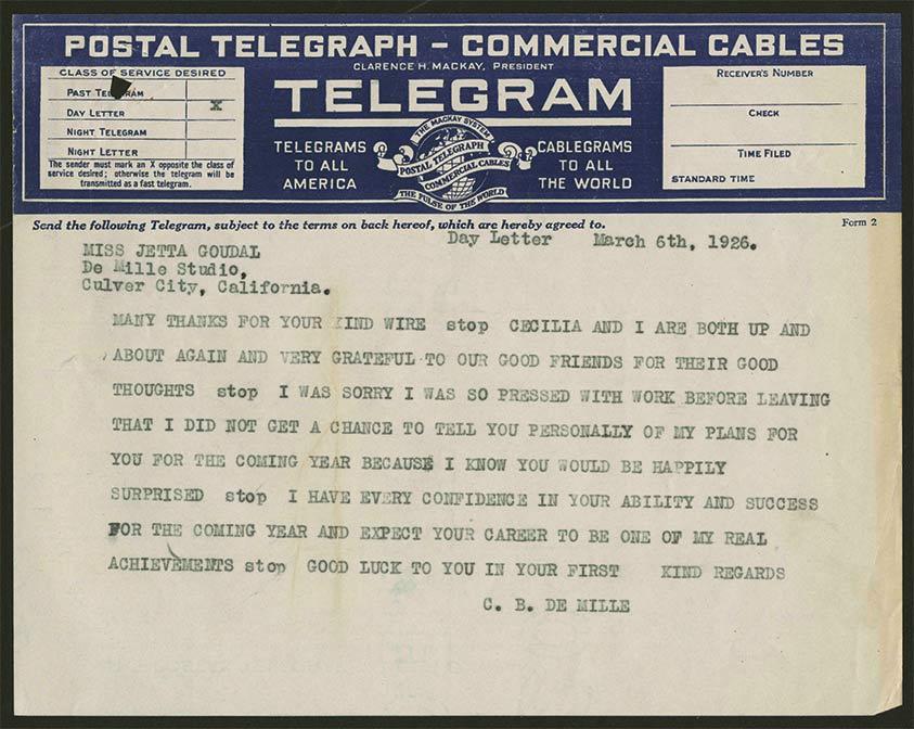 Brief van De Mille aan Jetta – 1926